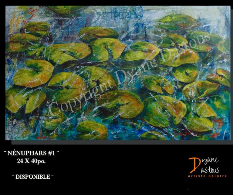 nénuphars- eau-nature-paysage-bleu- vert- oeuvre contemporaine- acrylique