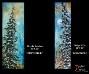 sapins-arbres- couleur terre-paysage- nature- acrylique- oeuvre