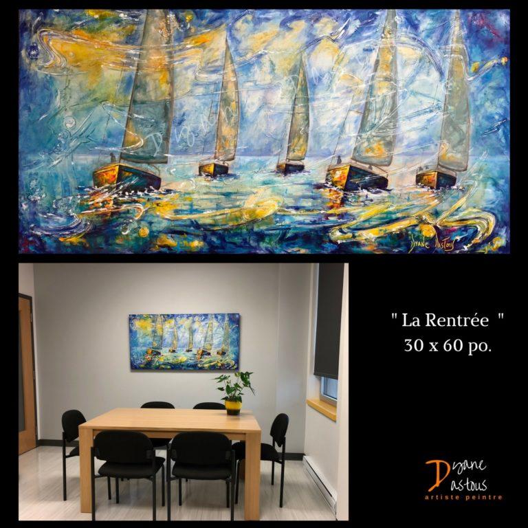 dyane dastous- diane dastous- voiliers-- acrylique- peinture- Bateaux- eau- mer- bleu- jaune- nature