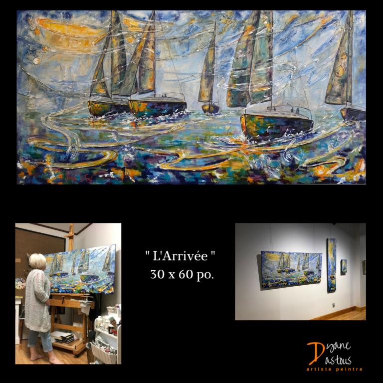 Bateaux- eau- mer- bleu- jaune- nature- peinture- acrylique- tableaux- diane dastous- dyane dastous