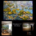 Nénuphars- eau- mer- bleu- jaune- nature